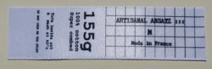 étiquette de composition en anglais avec indication de la taille