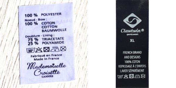 étiquette d'entretien et de compostion support satin