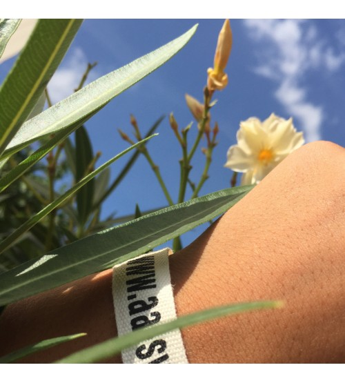 Bracelet personnalisé coton bio écru gros grain 10 ou 15 mm