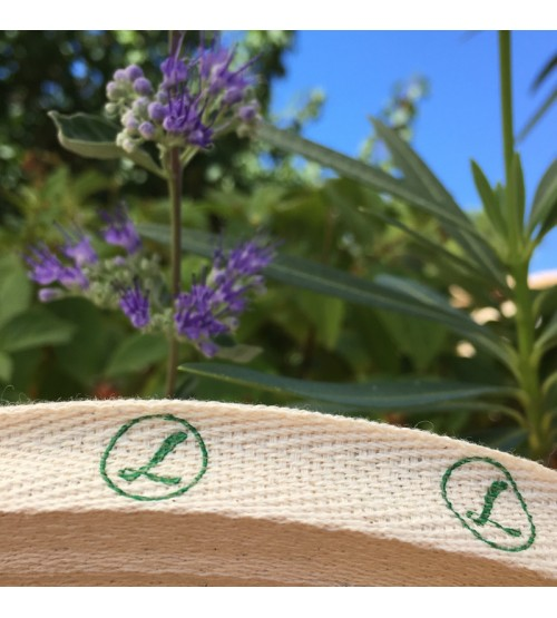 Ruban coton sergé écru impression offset vert