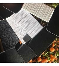Etiquette vêtement tissée 100% polyester blanc, noir, écru blanc et blanc cassé recyclé certifiée GRS