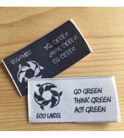 Etiquette vêtement Fil polyester recyclé écru, coton bleu foncé avec effet miroir