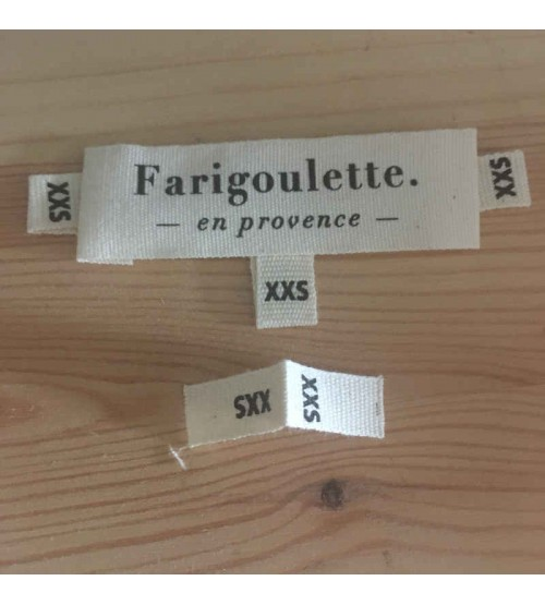 Etiquettes de tailles coton biologique XXS Made in France