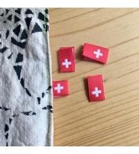 Etiquettes tissées drapeau Suisse 10x30 mm à insérer