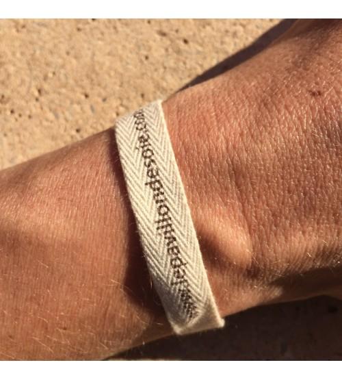 Bracelet personnalisé en coton sergé écru