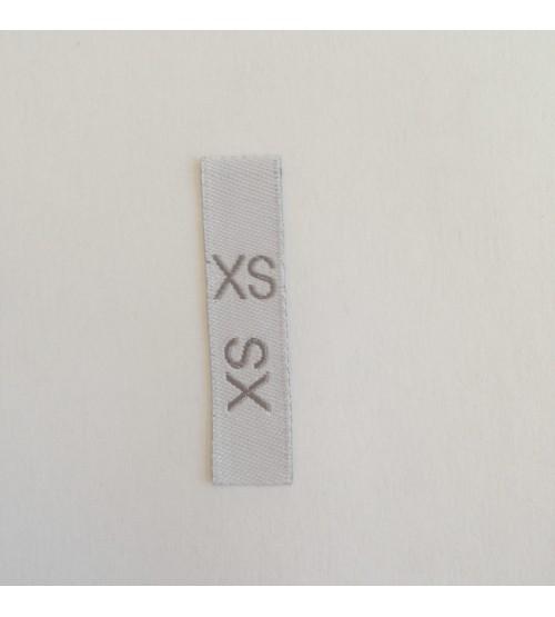 Étiquettes taille adultes XS fond blanc, taille en gris