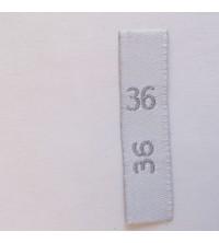Étiquettes taille adultes 36 fond blanc, taille en gris
