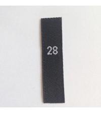 Étiquettes taille 28 adulte fond noir, taille en blanc
