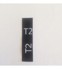Étiquettes taille T2 adulte fond noir, taille en blanc