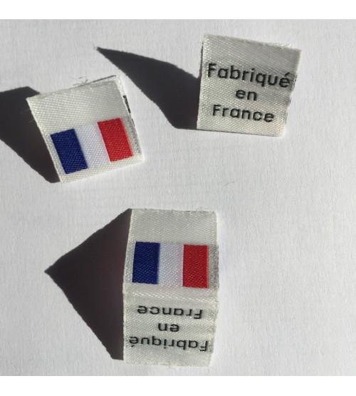Étiquettes tissées Fabriqué en France avec drapeau français à coudre