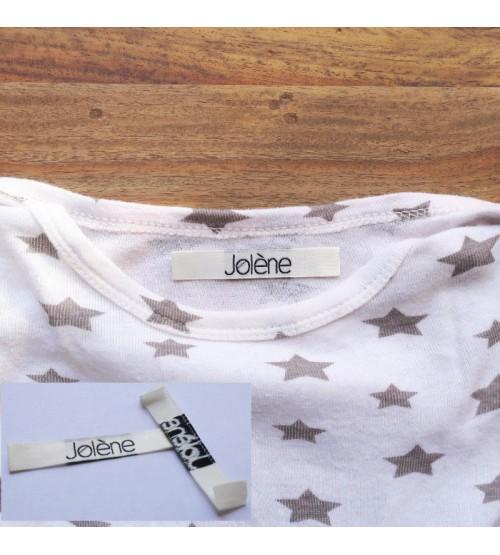 Etiquettes pour vêtement 10 mm * 60 mm, pliage sur les cotés, 2 couleurs
