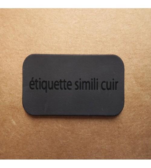 Étiquette simili cuir noir