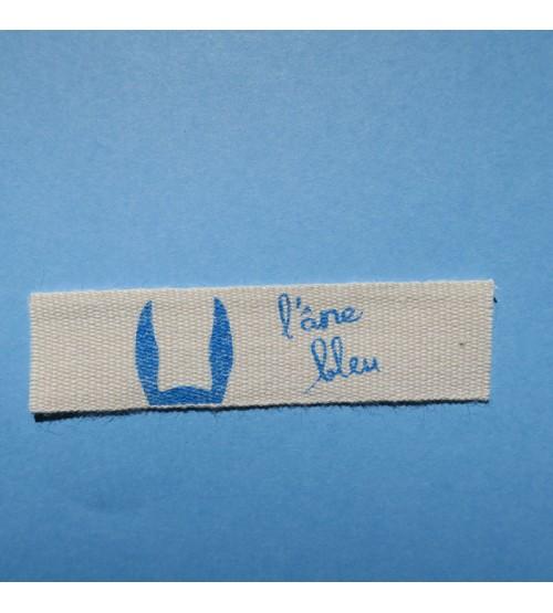 étiquettes pour vêtement en coton écru 15 mm sérigraphie bleu turquoise