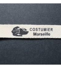 Etiquettes vêtement en coton bio serge 10 mm