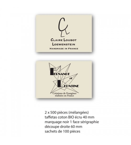 2 x 500 étiquettes coton bio écru taffetas gros grain 40x60 mm