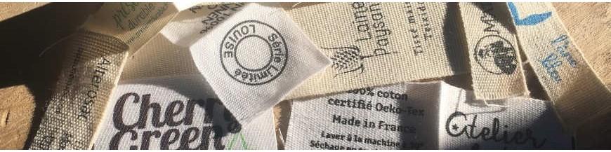 Étiquettes vêtements coton et coton bio