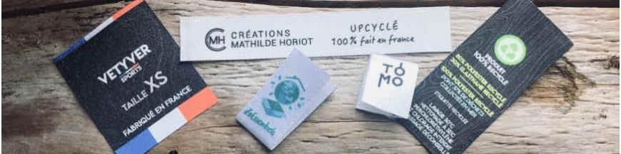 Étiquettes imprimées Made in France sur ruban recyclé grs