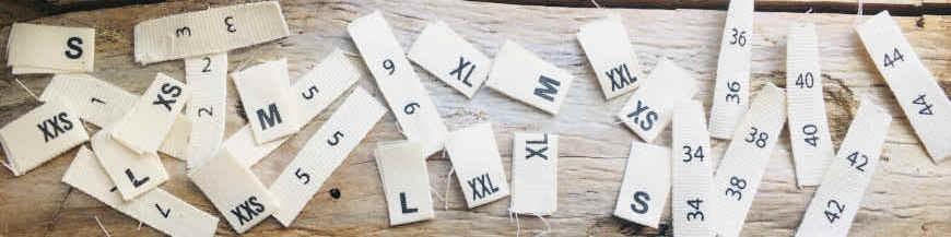 Étiquettes de tailles en coton