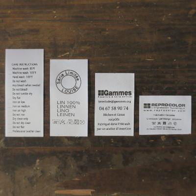 formats différents d'étiquettes de composition et d'entretien