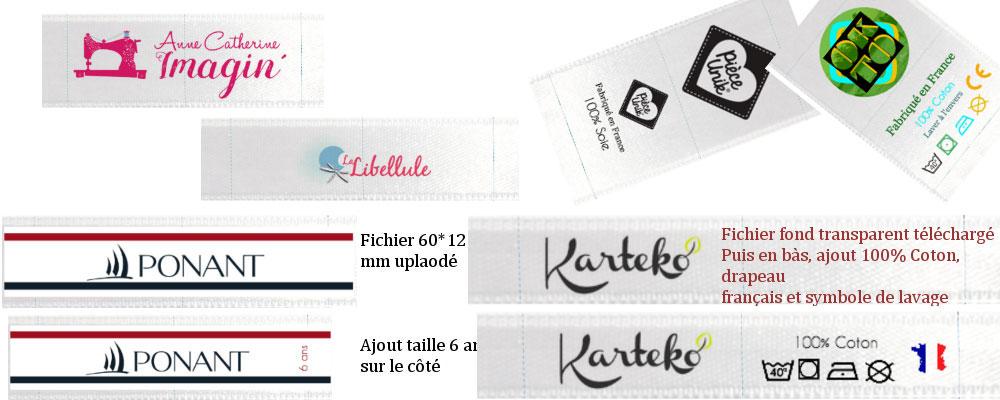 exemples d'étiquettes vêtement imprimées réalisées sur notre site