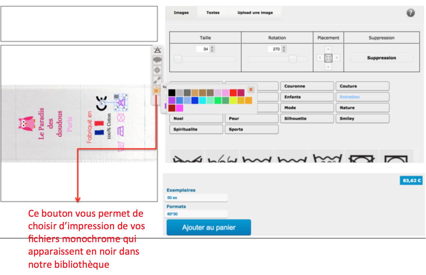 choisir la couleur de vos images monochrome pour vos étiquettes personnalisées