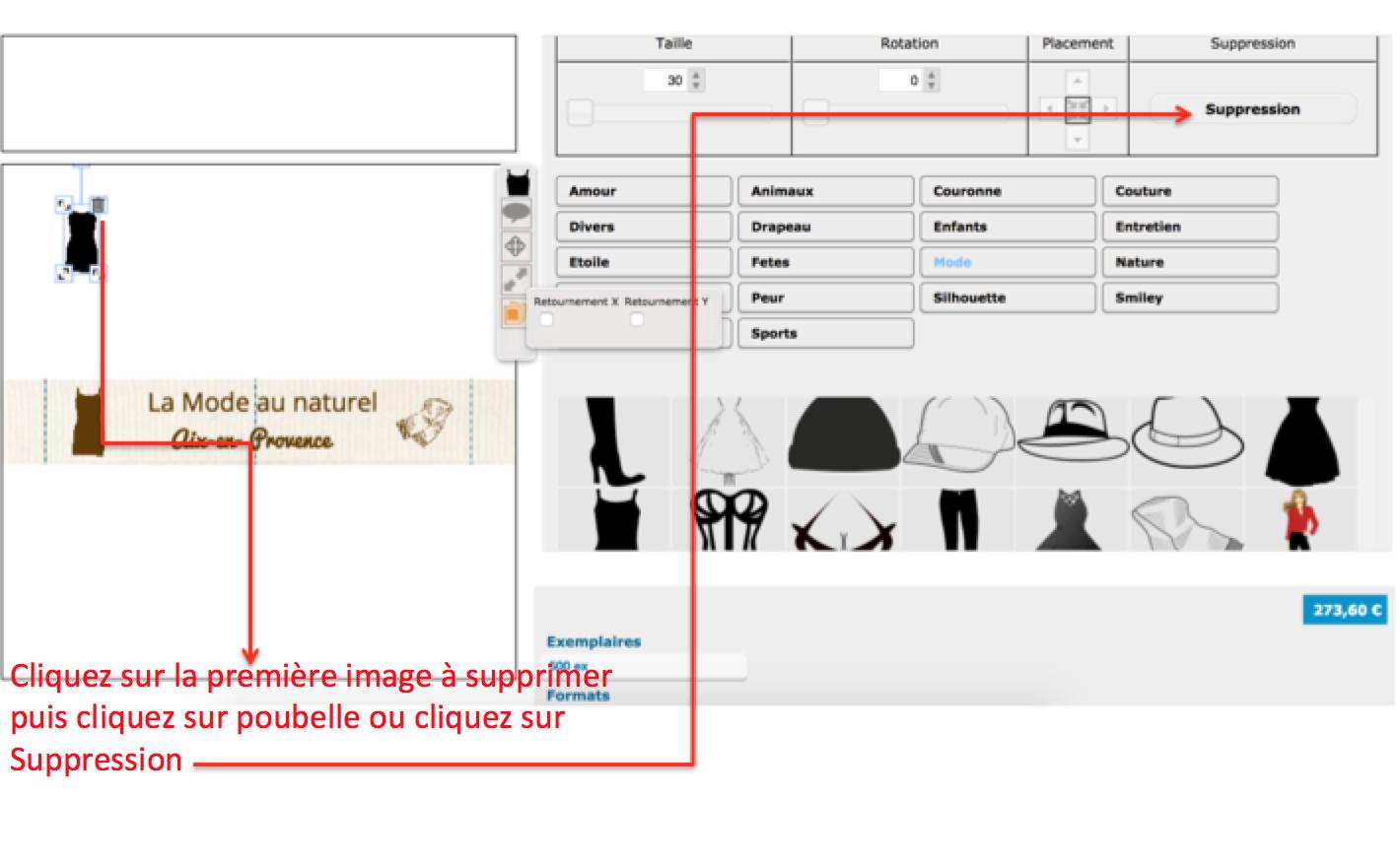 Supprimer une image qui ne vous convient pas sur vos étiquettes en coton pour vêtement