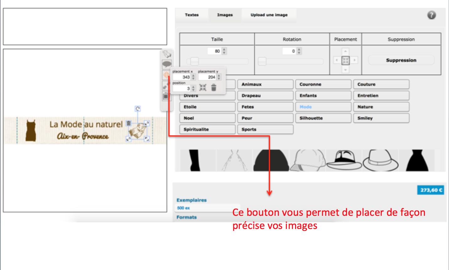 Pour optisier le placement de vos images sur votre étiquette personnalisée en coton