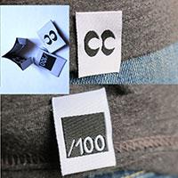 étiquettes personnalisées tissées 20 * 60 mm, pliage centré, pliage sur les cotés