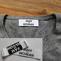 étiquettes vêtement 20 mm * 60 mm plaige sur les cotés
