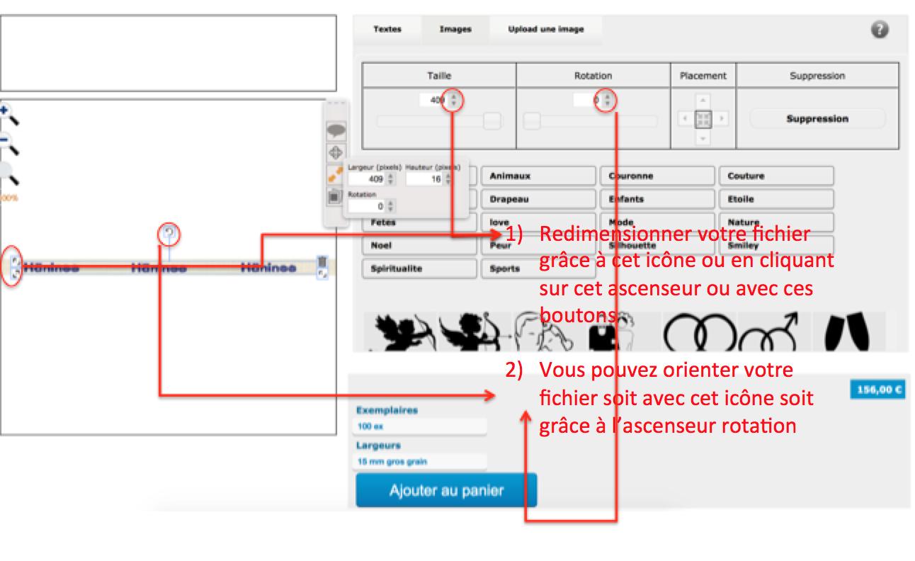 redimensionnez voter fichier pour personnaliser vos bracelets en coton avec logos