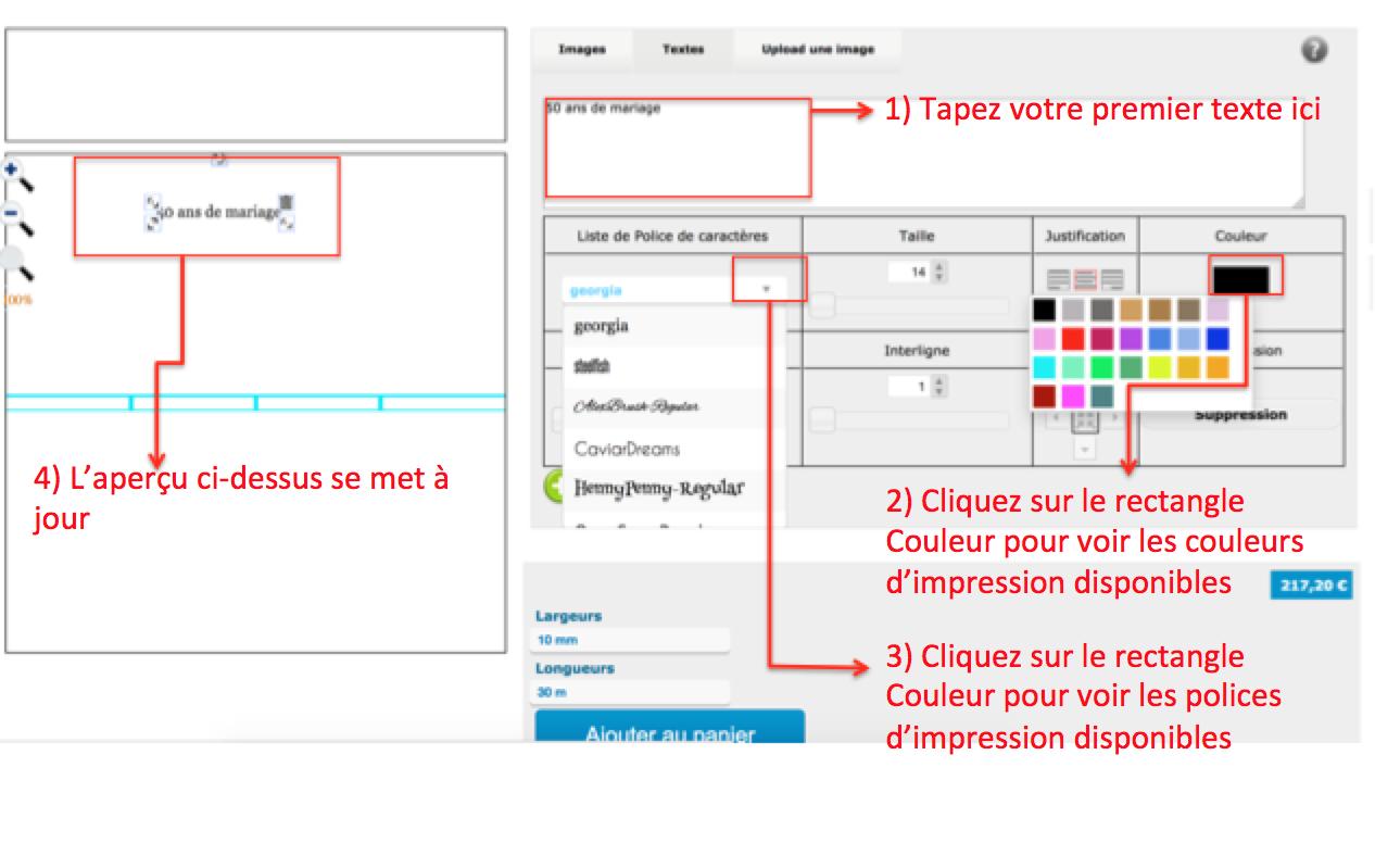 Créez votre premier texte sur votre ruban personnalisé en couleur
