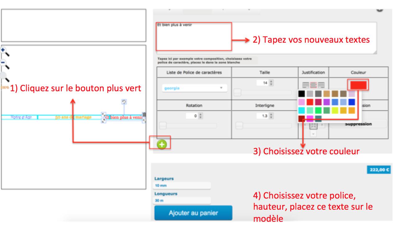 Ajouter de nouveaux textes en couleurs à votre ruban personnalisé