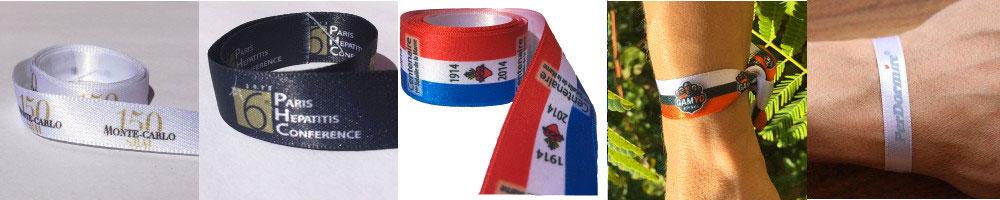 Gamme ruban personnalisé et bracelets événementiels en couleurs