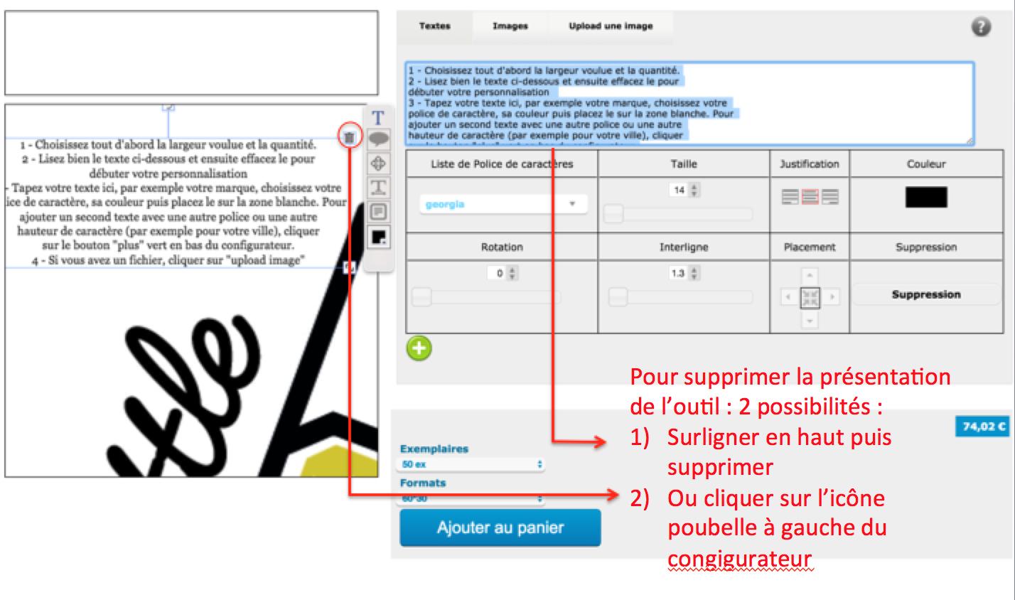 pour supprimer le texte de présentation du configurateur de vos étiquettes personnalisées pour vêtement